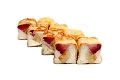 Söt sushi med bananen, jordgubbar och ost Fotografering för Bildbyråer
