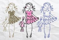 söt trend för gullig sommar för flickaglamourfjäder Royaltyfri Bild