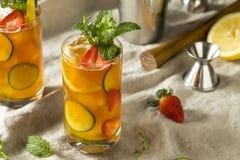 Söt uppfriskande Pimms koppcoctail med frukt arkivfoto