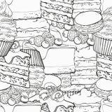 Söta bakade efterrätter skisserar den sömlösa modellen skissar in stil royaltyfri illustrationer