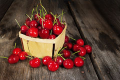 Söta Bing Cherries Wood Basket Arkivbild