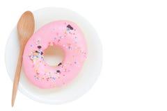 Söta donuts som isoleras på vit bakgrund Fotografering för Bildbyråer
