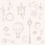Söta drömmar - planlägg element för behandla som ett barn scrapbooken vektor illustrationer