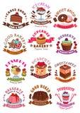 Söta efterrätter, kakor, muffinvektorsymboler vektor illustrationer