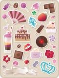 söta gulliga etiketter stock illustrationer