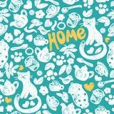Söta hem- seamless mönstrar royaltyfri illustrationer
