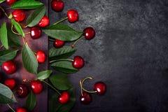 Söta körsbär med gröna sidor Arkivbilder