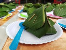 Söta klibbiga ris med thailändsk vaniljsås royaltyfri foto