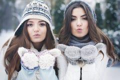 Söta kyssar i vinter Royaltyfri Bild