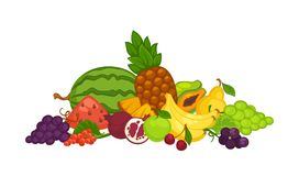 Söta läckra frukter och bär i stor hög stock illustrationer