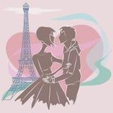 Söta par i Paris nära Eiffeltorn bifokal stock illustrationer