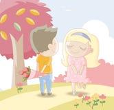 Söta vänner - Man att ge flickan en bukett av rosor Royaltyfri Bild