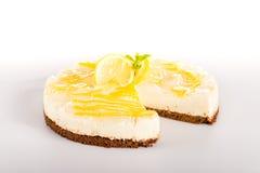 Sötsak för krämig tårta för citronpieefterrätt läcker Fotografering för Bildbyråer