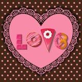 Sötsaken och efterrätten i ord av förälskelse formar vektor illustrationer