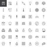 Sötsaker efterrätt och köksgerådlinje symbolsuppsättning Arkivbild