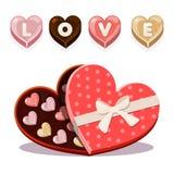 Sötsaker för dag för valentin s i formad hjärta stock illustrationer