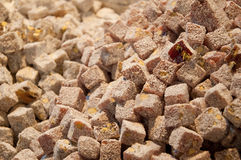 Sötsaker för turkisk fröjd med pudrat socker Royaltyfri Fotografi
