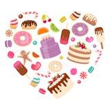 Sötsaker: godisen bakar ihop, glass, kakan som läggas ut i formen av a royaltyfri illustrationer