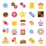 Sötsaker och pajsymboler Kex för pannkakagodischoklad och glassmatvektorn färgade plana bilder stock illustrationer