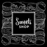 Sötsaker shoppar det fyrkantiga banret med bakade efterrätter i linje skissar stil stock illustrationer