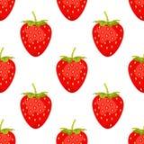 Sött bär som isoleras på vit bakgrund seamless vektor för modell Illustrationen med den röda jordgubben kan användas för affische vektor illustrationer