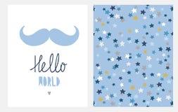 Sött baby showervektorkort och modell Den blåa mustaschen och Hendwritten Hello världen isolerade på en vit bakgrund vektor illustrationer