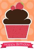 Sött kort för lycklig födelsedag för muffin Royaltyfri Bild