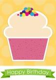 Sött kort för lycklig födelsedag för muffin Royaltyfri Foto