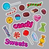Sött matklotter för godisar Klistermärkear, emblem och lapp med choklader och klubban stock illustrationer