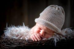 Sött nyfött behandla som ett barn att sova på filten Royaltyfria Bilder