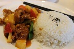 Sött och surt griskött med ris royaltyfri fotografi