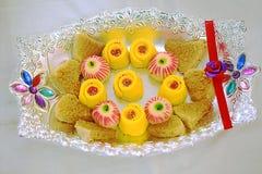 Sött recept på en platta, ett Palkova och Mysore Pak Indian recept Arkivbild