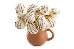 süße Bälle in der Schokoladenglasur Stockfoto