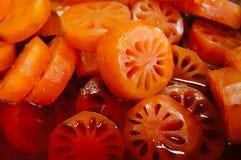 Süße Bael-Frucht mit Sirup Lizenzfreie Stockfotos