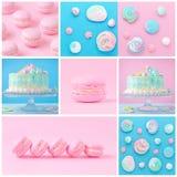 Süße Collage mit Makronen, Kuchen und Meringe auf Rosa und Blau Stockfotos