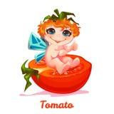Süße Fee mit roter Tomate Auch im corel abgehobenen Betrag Flache Art lizenzfreie abbildung