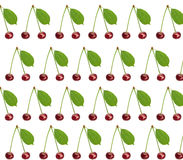 Süße frische Kirsche des nahtlosen Musters mit dem grünen Blatt lokalisiert Stockfotos