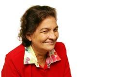 Süße Großmutter im Rot Stockbild