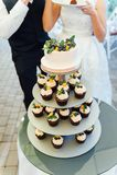 Süße Hochzeitstorte gemacht vom frischen Beerenkleinen kuchen mit bokeh Hintergrund Lizenzfreie Stockbilder