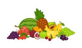 Süße köstliche Früchte und Beeren im Großen Haufen stock abbildung