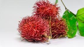 Süße köstliche Frucht des Rambutan lokalisiert auf Weiß Stockfotografie