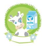 Süße Kuh mit Milch Stockfotos