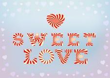 Süße Liebesaufschrift auf blauem weichem Hintergrund mit kleinem Herz bokeh Lizenzfreies Stockfoto