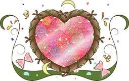 Süße Mädchendekoration des rosigen Herzens Vektor Abbildung