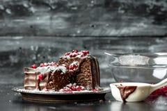 Süße Momente - süße Momente - Schokoladenkuchen gossen die heiße, flüssige Schokolade, besprüht mit roten Granatapfelsamen und -P lizenzfreies stockbild