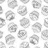 Süße Musterskizze der kleinen Kuchen Lizenzfreies Stockfoto