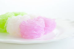 Süße Nudeln im Kokosmilch-Sirup Stockbilder