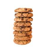 Süße Plätzchen mit Schokolade auf Weiß Lizenzfreie Stockfotografie