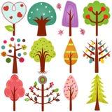 Süße Retro- Bäume, nahtloser Hintergrund ein getrennt Lizenzfreie Stockbilder