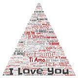 Süße romantische ich liebe dich mehrsprachige Mitteilung des Vektors stock abbildung